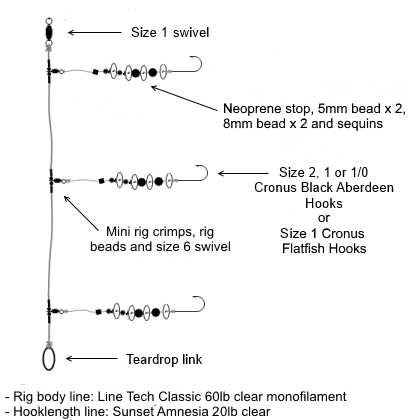 Three Hook Flapping Rig (Flatfish Rig)